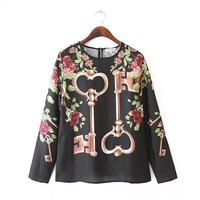 free shipping 2015 spring summer women's new keys flower print long-sleeve loose blouse top