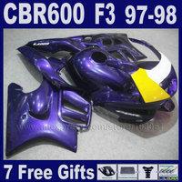 Customize factory Motorcycle fairings set for Honda 1998 CBR600 F3 1997 CBR 600 F3 97 CBR 600F3 98 dark purple fairing kits+tank