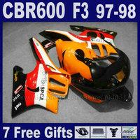 ABS Motor factory fairings set for Honda orange repsol 1998 CBR600 F3 1997 CBR 600 F3 97 CBR 600F3 98 bodywork fairing kit+tank