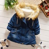 New 2015 Childer's Winter Outwear Coat Baby Clothing Boys Girls Thicken Add wool warm Hooded jean jacket FF881
