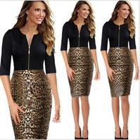 2015 Vestido Fashion Sexy Women's Dresses Patchwork Leopard O-neck Half sleeve Slim Female Dress