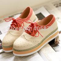 Hot-selling spring fashion color block decoration round toe casual flat lacing platform single shoes female shoes platform shoes
