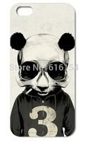Terrible Skull Panda smoke Plastic material phone case for iphone 5 5s
