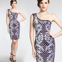 2015 spring summer sexy One shoulder bodycon sheath printed Women elegant knee length casual office midi pencil womens dress 925