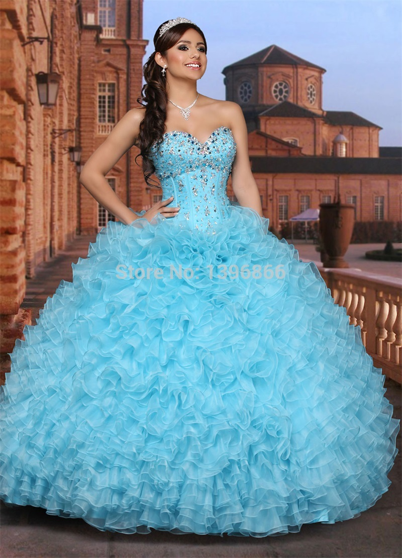 Blue and white sweet 16 dresses