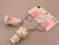 2PCS/LOT Freeshipping Couple hello kitty Lovers Keychain Ring Keyring Key Chain Lover Romantic  Birthday Valentine KT80 Gift