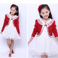 Girls clothing sets children's clothing casual girl dress suit cotton dress+coat 2pcs kids clothes child princess vestidos HB099
