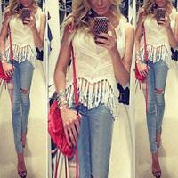 2015 Summer New Women Fashion Hand Woven Tassel Shirts Sleeveless Spaghetti Strap V-Neck Blouses 5 Colors