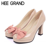 2015 New Thick Heel Pumps,Artifical Leather Platform Women Shoes With Bow-knot,Party And Wedding Shoes For Women Dress 1513