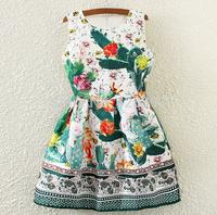 2015 summer women dress was thin in Europe and America retro print jacquard sleeveless vest dress Vestidos Femininos