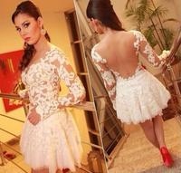 2015 New Women's Dresses Lace stitching gauze Sexy Slim Nightclub Dress White Plus Size  S-XL