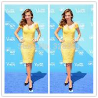 2014 Hot Selling Custom Made V neck Lace Celebrity Dresses Elegant Short Cap Sleeve Knee Length Yellow Slim Evening Dresses