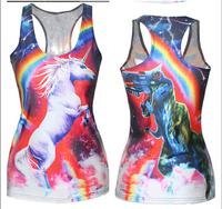 3d Animal Printed unicorn T shirt Women T-shirts Woman tees Summer Sexy close-fitting Sleeveless Sports Tops