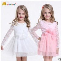 In the spring of 2015 new lace bowknot is the princess of the girls dress  A36.9Free shipping
