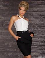 fashion 2015 women white black off shouder patchwork sleeveless sashed bandage club party bodycon casual dress