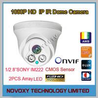 Free Shipping 2MP 1920X1080P 2pcs Array LED SONY IM222 CMOS HD IP IR  Dome Camera  Infrared Night Vision CCTV IP Camera