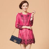 2014 autumn leather clothing female genuine leather clothing medium-long sheepskin trench slim outerwear