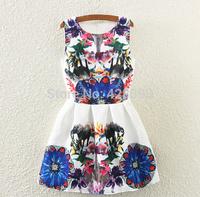 2015 fall new European and American big yards jacquard print dress retro stitching sleeveless vest dress Vestidos Femininos
