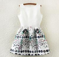 2015 new European style women's retro print jacquard dress was thin sleeveless vest  Vestidos Femininos