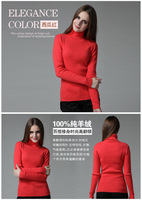 best quality women's spring autumn / winter solid mink cashmere pullover turtleneck sweaters slim fit 16 colors size S-XXL 88