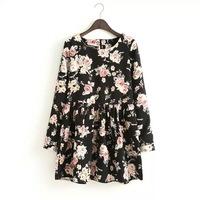 New Fashion Ladies Dress  print flower  long-sleeved dress Elegant Casual Dress brand 9325