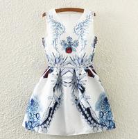 Free shipping ! 2015 new leaf rose in Europe and America jacquard retro print was thin sleeveless vest dress Vestidos Femininos