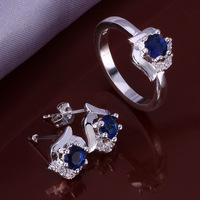 Free Shipping Silver Crystal Earrings/Rings,Fashion Silver Plated Rhinestone Set,Wholesale Fashion Jewelry,KNPCS648