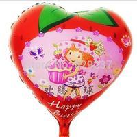 Free Shipping~ 10pcs/lot 18 inch Wholesale Helium balloons birthday party ballon /strawberry girl balloon