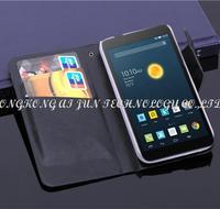100pcs book style wallet pu leather Alcatel One Touch Pop2 (4.5) 5042 5042d 5042e dual SIM 5042a 5042x 5042w 5042g leather case