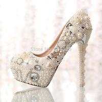 Customer Design Elegant Rhinestone Pearls Bride Shoes High Heels Women Platform Pumps Size 35-39 Drop Shipping