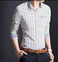 2015 new! hot! top brand men stripe patchwork casual long sleeve shirt high quality cotton slim shirt handsome men dress shirt