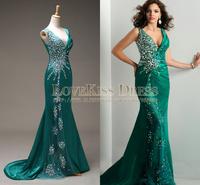 Abendkleider V Neck Mermaid Crystal Green Satin Long Evening Dresses Sexy Prom Dress 2015