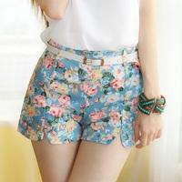 2015 New Women casual shotrs summer floral print high waist elastic cotton hot shorts with free belt feminino,SB504