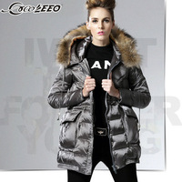 2014 Winter Thicken Warm Woman Down jackets Hooded Coats Parkas Outerweat Cold Long Slim Raccoon Fur collar Plus Size XL Gray