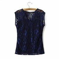 Fashion Ladies Sweet Elegant  Full Lace Sexy V Neck Floral Print Sleeveless T shirt Casual T-shirt T-shirts Women Tops
