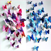 PVC 3D Butterfly Wall Sticker Home Decoration Decals Home Decoration adesivo de parede wall sticker kids 12pcs 4 big+ 8 Small