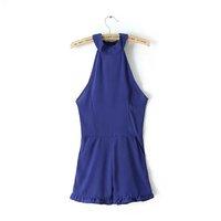free shipping new summer 2015 backless cross Halter neck sleeveless jumpsuit women's short playsuit