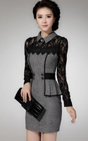 Vestidos Free Shipping Real 2015 Women's Dresses Selling Sweater Elegant Classical Temperament Slim thin lace package hip dress
