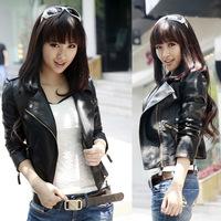2015 Autumn Women jacket pu fashion new brand plus size black leather jacket European style oblique zipper motorcycle PU jacket