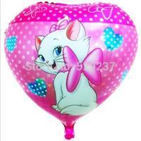 Free Shipping~ 10pcs/lot 18 inch Wholesale Aluminum cartoon balloon / peach heart cats balloon