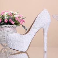 Sweet White Flower Lace Platform High-heeled Pumps 10/12/14cm Pearl Wedding Shoes High Quality Bride Dress Shoes Single Shoes