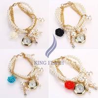 Flower Pearl series hung Rose Lady Bracelet Watch Women wristwatch Free Shipping