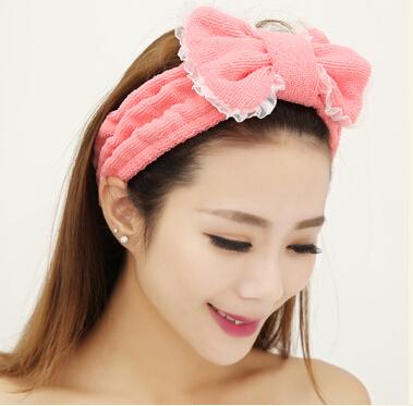 Send microfiber towel headband Korean cute butterfly hair band end K128(China (Mainland))