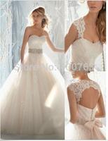 Beautiful A-Line Sweetheart Cap Sleeves Tulle Sweep Train Open Back Modern Wedding Dresses