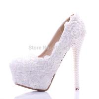 Cheap White Lace Pearl Heels Wedding Shoes Ultra High Heels Platform Pumps Formal Bride Dress Shoes Size 34-39