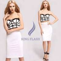 New Lady's 2pcs Set Sexy White and Black Geometric Patterns Tops and Skirt