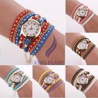 Dress Quartz Watches New Fashion Bracelet Casual female rivet PUNK Three Strap Chain Watch Wrap Circle Women Wristwatch
