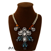Brand New Crystal Pendant Necklace for Women Golden Chain Collar Statement Necklaces Great Gift for Valentine Day DIS1220001