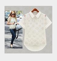 New 2015 Fashion European and American women's Pierced short-sleeved shirt T-shirt  tops blouses summer shirt