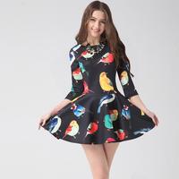 2015 New Fashion Elegant O-neck Summer Women Dresses Floral Printing Dress Spring&Autumn A Line Vestidos Prom Dress Dress